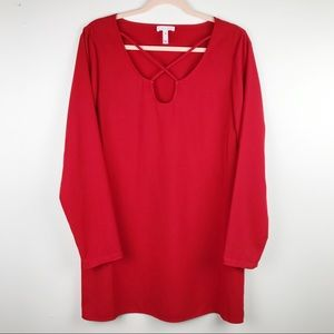 Leith Red Long Sleeve Dress Neck Detail Sz M